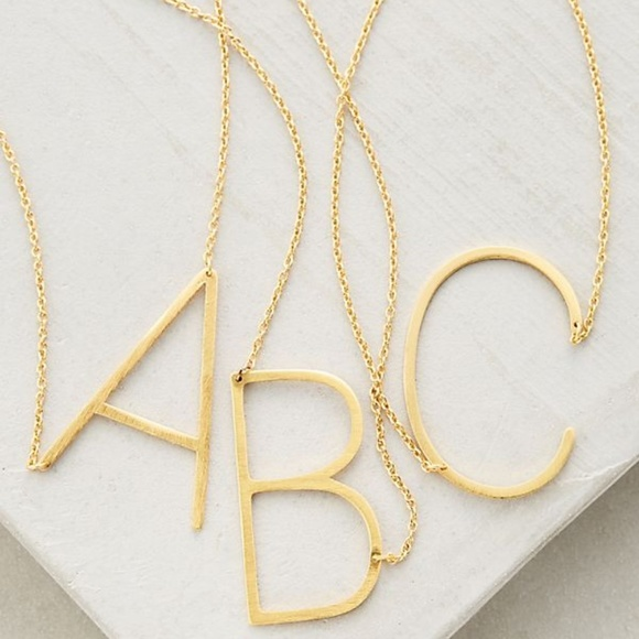 Girly Jewelry - Block Letter Monogram Necklace - N